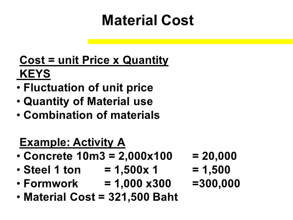 Material Cost Cost = unit Price x Quantity KEYS Fluctuation of unit price Quantity of Material use Combination of materials Example: Activity A Concrete 10m3 = 2,000x100 = 20,000 Steel 1 ton= 1,500x 1= 1,500 Formwork = 1,000 x300=300,000 Material Cost = 321,500 Baht