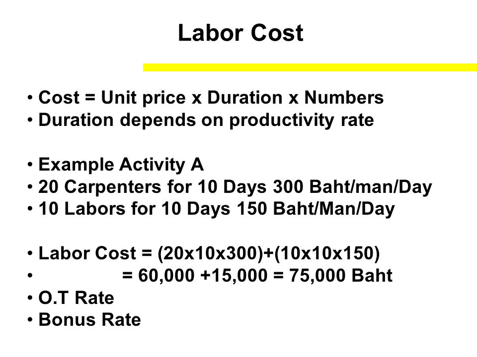 Labor Cost Cost = Unit price x Duration x Numbers Duration depends on productivity rate Example Activity A 20 Carpenters for 10 Days 300 Baht/man/Day 10 Labors for 10 Days 150 Baht/Man/Day Labor Cost = (20x10x300)+(10x10x150) = 60,000 +15,000 = 75,000 Baht O.T Rate Bonus Rate