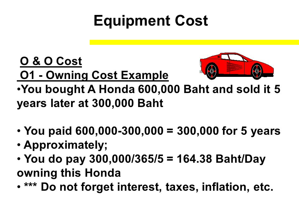 Equipment Cost O2 - Operating Cost Fuel Cost Maintenance Cost Operator Cost Example The Honda's fuel 100 baht/day Maintenance cost 10000 Baht/Year Tires cost 3000 Baht/Year Operator 5000 Baht/Month Operating Cost for Honda = (100) + (10000/365) + (3000/365) + (5000*12/365) = 300 Baht /Day Total Cost = 300+164.38 = 464.38 Baht/Day = 464.38/8 = 58.5 Baht/Hr.