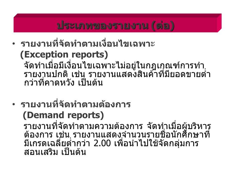 รายงานที่จัดทำตามเงื่อนไขเฉพาะ (Exception reports) จัดทำเมื่อมีเงื่อนไขเฉพาะไม่อยู่ในกฎเกณฑ์การทำ รายงานปกติ เช่น รายงานแสดงสินค้าที่มียอดขายต่ำ กว่าที่คาดหวัง เป็นต้น รายงานที่จัดทำตามต้องการ (Demand reports) รายงานที่จัดทำตามความต้องการ จัดทำเมื่อผู้บริหาร ต้องการ เช่น รายงานแสดงจำนวนรายชื่อนักศึกษาที่ มีเกรดเฉลี่ยต่ำกว่า 2.00 เพื่อนำไปใช้จัดกลุ่มการ สอนเสริม เป็นต้น ประเภทของรายงาน (ต่อ)