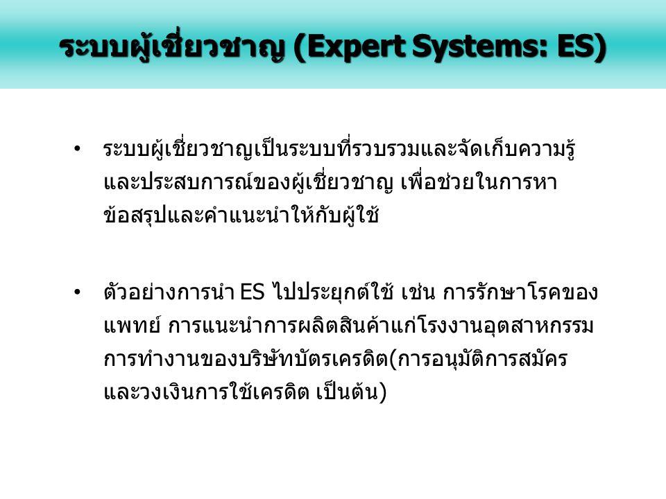 ระบบผู้เชี่ยวชาญเป็นระบบที่รวบรวมและจัดเก็บความรู้ และประสบการณ์ของผู้เชี่ยวชาญ เพื่อช่วยในการหา ข้อสรุปและคำแนะนำให้กับผู้ใช้ ตัวอย่างการนำ ES ไปประยุกต์ใช้ เช่น การรักษาโรคของ แพทย์ การแนะนำการผลิตสินค้าแก่โรงงานอุตสาหกรรม การทำงานของบริษัทบัตรเครดิต(การอนุมัติการสมัคร และวงเงินการใช้เครดิต เป็นต้น) ระบบผู้เชี่ยวชาญ (Expert Systems: ES)