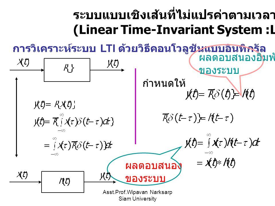 Asst.Prof.Wipavan Narksarp Siam University ระบบแบบเชิงเส้นที่ไม่แปรค่าตามเวลา (Linear Time-Invariant System :LTI) การวิเคราะห์ระบบ LTI ด้วยวิธีคอนโวลู