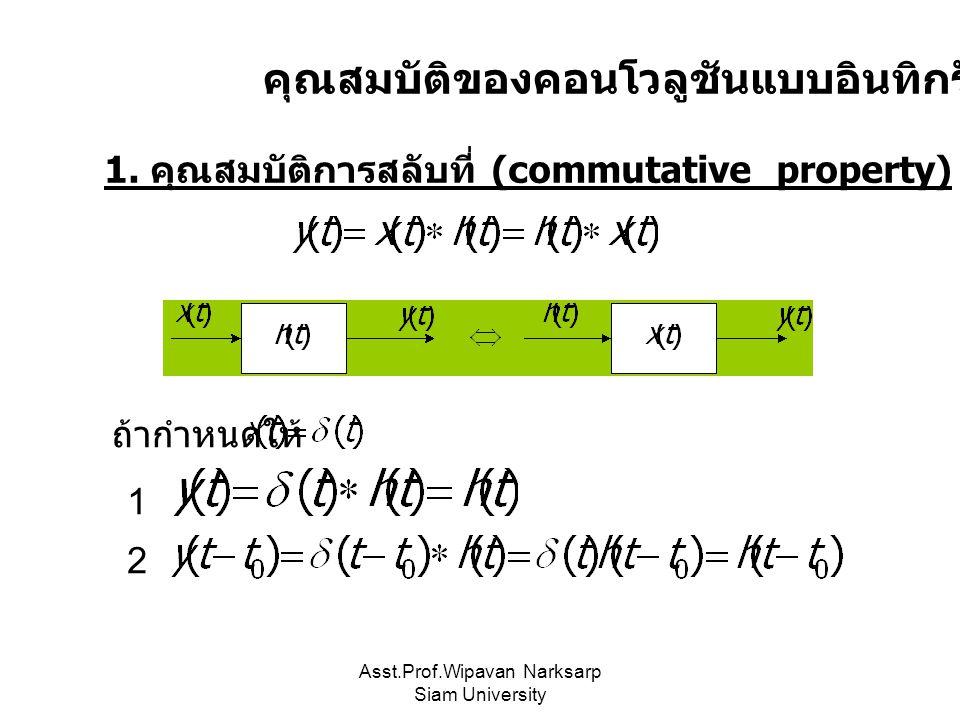 Asst.Prof.Wipavan Narksarp Siam University คุณสมบัติของคอนโวลูชันแบบอินทิกรัล 1. คุณสมบัติการสลับที่ (commutative property) ถ้ากำหนดให้ 1 2