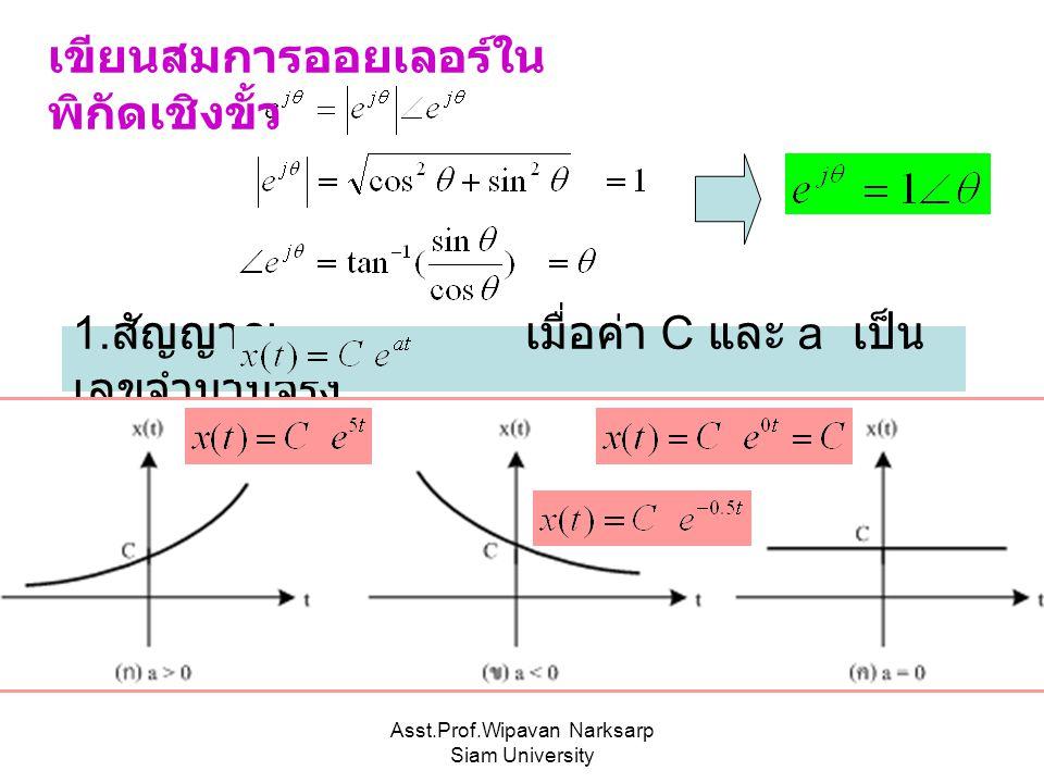 Asst.Prof.Wipavan Narksarp Siam University เขียนสมการออยเลอร์ใน พิกัดเชิงขั้ว 1. สัญญาณ เมื่อค่า C และ a เป็น เลขจำนวนจริง