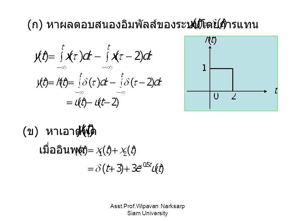 Asst.Prof.Wipavan Narksarp Siam University ( ก ) หาผลตอบสนองอิมพัลส์ของระบบโดยการแทน ( ข ) หาเอาต์พุต เมื่ออินพุต