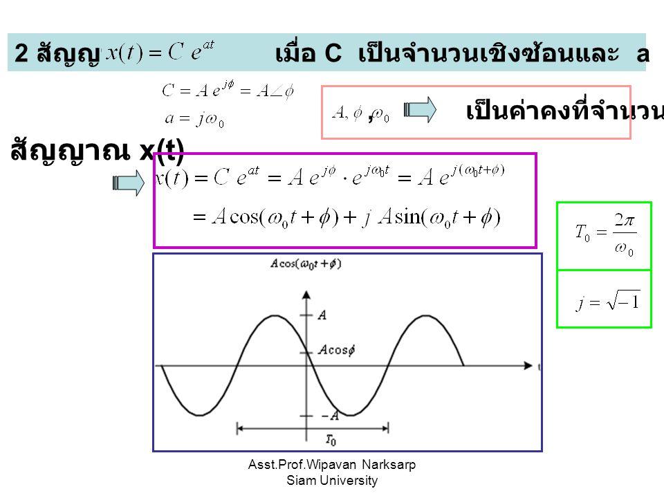 Asst.Prof.Wipavan Narksarp Siam University 2 สัญญาณ เมื่อ C เป็นจำนวนเชิงซ้อนและ a เป็นจำนวนจินตภาพ, เป็นค่าคงที่จำนวนจริง สัญญาณ x(t)