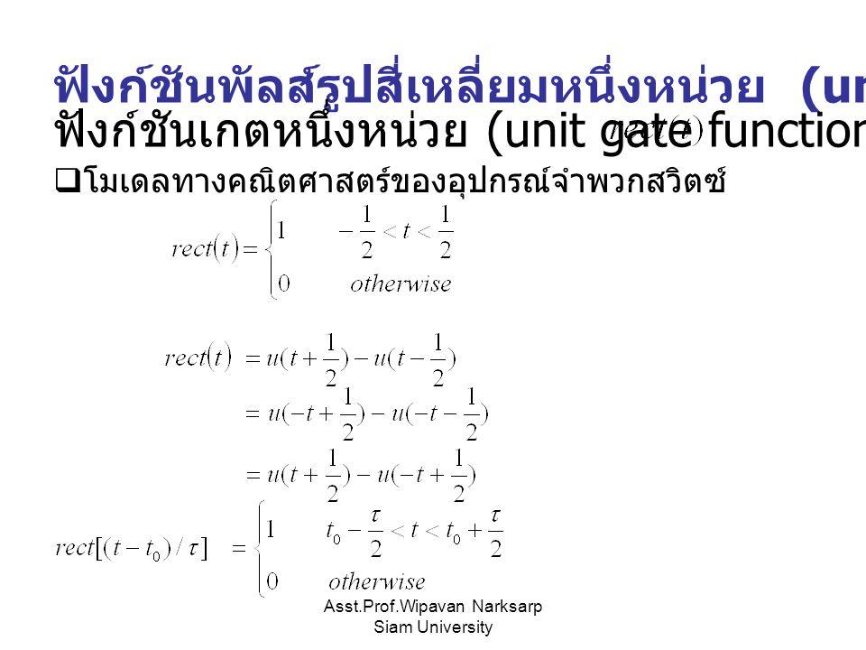 Asst.Prof.Wipavan Narksarp Siam University ฟังก์ชันพัลส์รูปสี่เหลี่ยมหนึ่งหน่วย (unit rectangular pulse)  โมเดลทางคณิตศาสตร์ของอุปกรณ์จำพวกสวิตซ์ ฟัง
