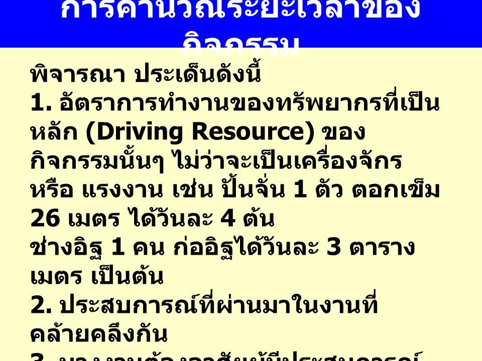 การคำนวณระยะเวลาของ กิจกรรม พิจารณา ประเด็นดังนี้ 1. อัตราการทำงานของทรัพยากรที่เป็น หลัก (Driving Resource) ของ กิจกรรมนั้นๆ ไม่ว่าจะเป็นเครื่องจักร