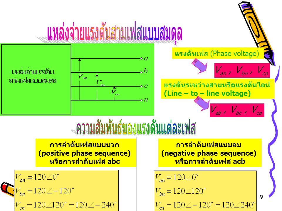9 การลำดับเฟสแบบบวก (positive phase sequence) หรือการลำดับเฟส abc การลำดับเฟสแบบลบ (negative phase sequence) หรือการลำดับเฟส acb แรงดันเฟส (Phase volt