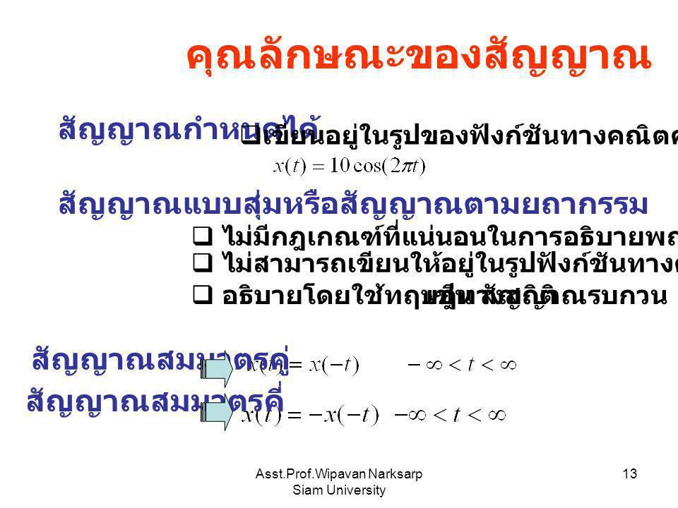 Asst.Prof.Wipavan Narksarp Siam University 13 คุณลักษณะของสัญญาณ สัญญาณกำหนดได้  เขียนอยู่ในรูปของฟังก์ชันทางคณิตศาสตร์ได้ สัญญาณแบบสุ่มหรือสัญญาณตาม