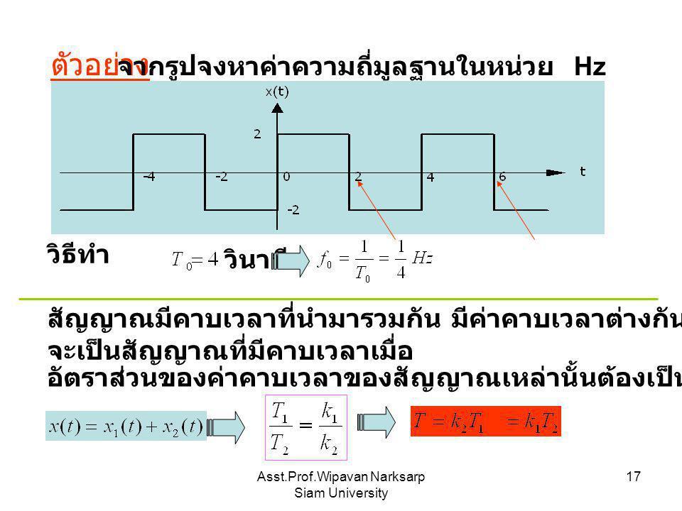 Asst.Prof.Wipavan Narksarp Siam University 17 ตัวอย่าง จากรูปจงหาค่าความถี่มูลฐานในหน่วย Hz วิธีทำ วินาที สัญญาณมีคาบเวลาที่นำมารวมกัน มีค่าคาบเวลาต่า