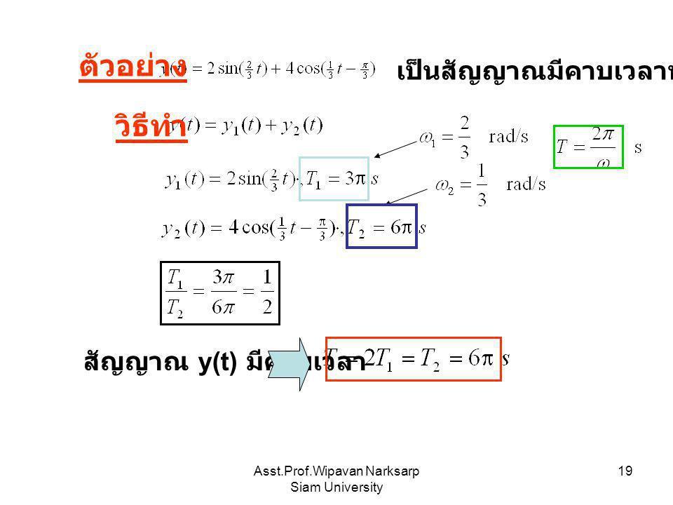Asst.Prof.Wipavan Narksarp Siam University 19 ตัวอย่าง เป็นสัญญาณมีคาบเวลาหรือไม่ วิธีทำ สัญญาณ y(t) มีคาบเวลา
