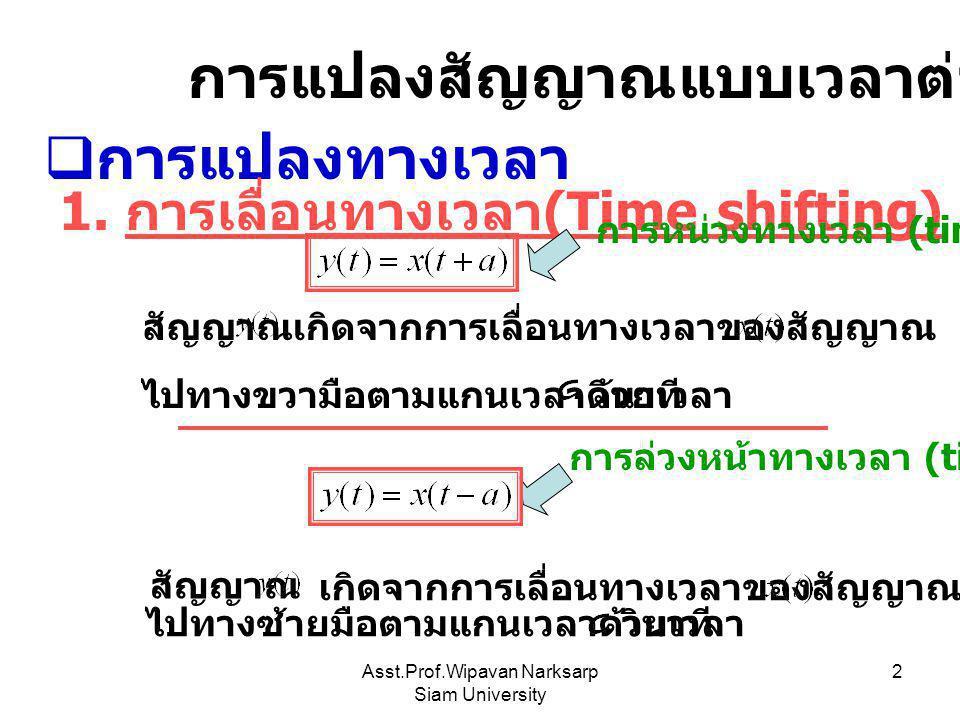 Asst.Prof.Wipavan Narksarp Siam University 2 การแปลงสัญญาณแบบเวลาต่อเนื่อง  การแปลงทางเวลา 1. การเลื่อนทางเวลา (Time shifting) เกิดจากการเลื่อนทางเวล