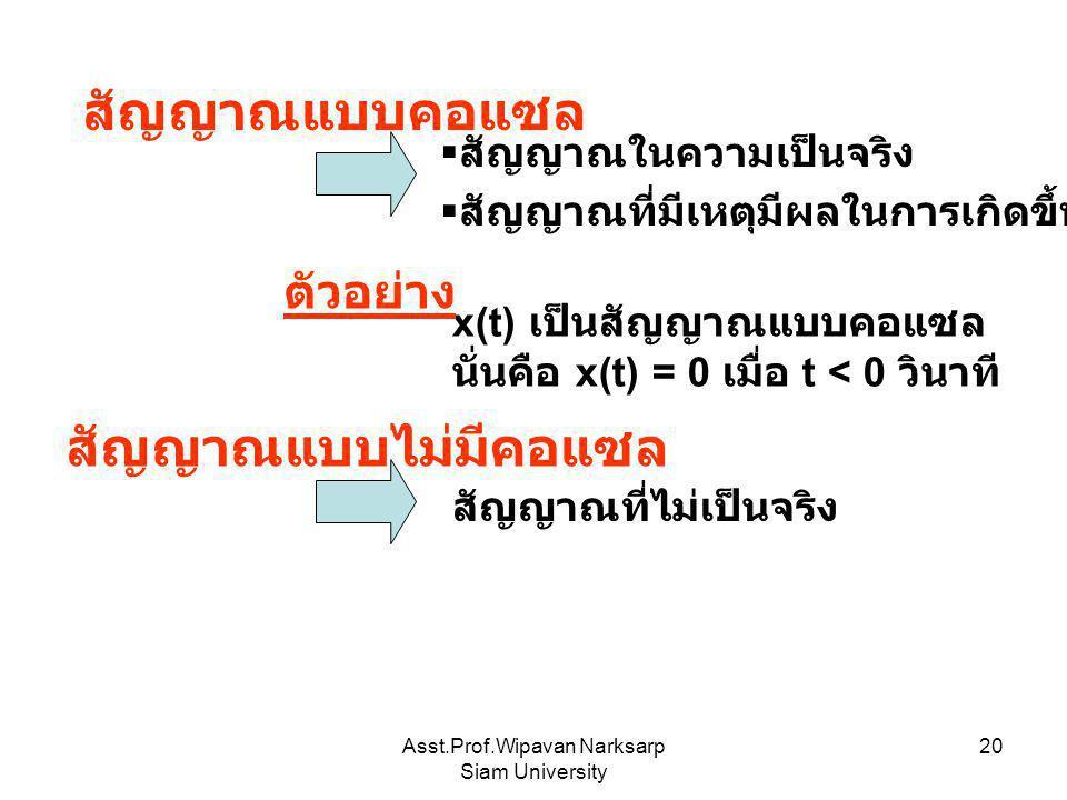 Asst.Prof.Wipavan Narksarp Siam University 20  สัญญาณที่มีเหตุมีผลในการเกิดขึ้น x(t) เป็นสัญญาณแบบคอแซล นั่นคือ x(t) = 0 เมื่อ t < 0 วินาที สัญญาณแบบ