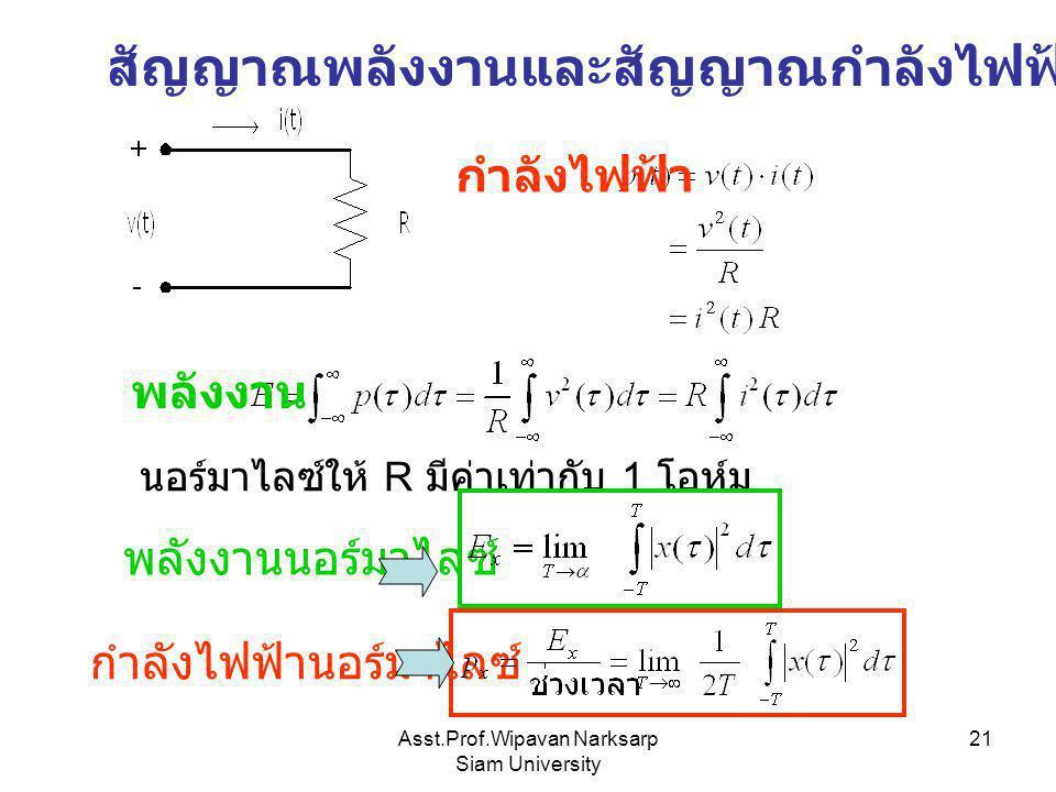 Asst.Prof.Wipavan Narksarp Siam University 21 สัญญาณพลังงานและสัญญาณกำลังไฟฟ้า กำลังไฟฟ้า พลังงาน นอร์มาไลซ์ให้ R มีค่าเท่ากับ 1 โอห์ม พลังงานนอร์มาไล