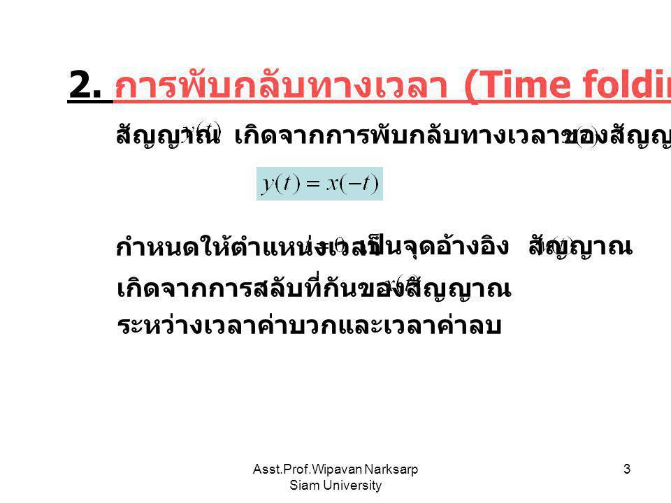Asst.Prof.Wipavan Narksarp Siam University 3 2. การพับกลับทางเวลา (Time folding) เกิดจากการพับกลับทางเวลาของสัญญาณ สัญญาณ กำหนดให้ตำแหน่งเวลา เป็นจุดอ