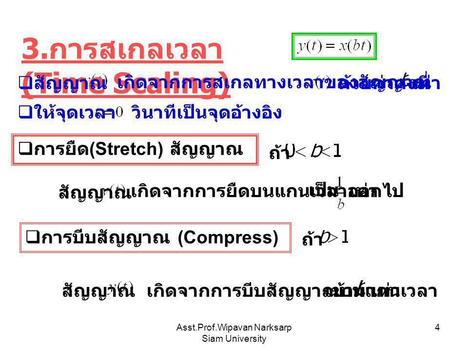 Asst.Prof.Wipavan Narksarp Siam University 4 3. การสเกลเวลา (Time Scaling)  สัญญาณ เกิดจากการสเกลทางเวลาของสัญญาณ ด้วยค่าคงที่เท่า วินาทีเป็นจุดอ้างอ