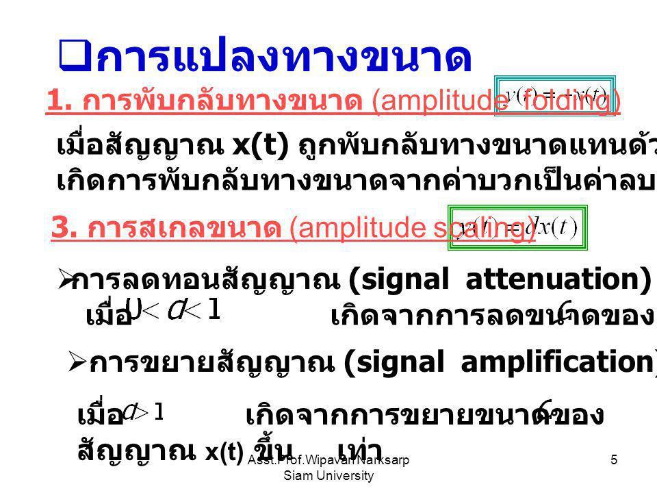 Asst.Prof.Wipavan Narksarp Siam University 5  การแปลงทางขนาด 1. การพับกลับทางขนาด (amplitude folding) เมื่อสัญญาณ x(t) ถูกพับกลับทางขนาดแทนด้วย –x(t)