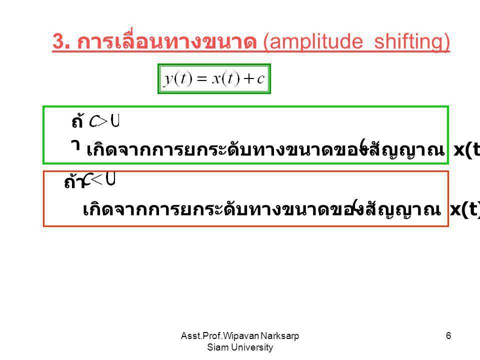 Asst.Prof.Wipavan Narksarp Siam University 6 3. การเลื่อนทางขนาด (amplitude shifting) เกิดจากการยกระดับทางขนาดของสัญญาณ x(t) ลงมา หน่วย เกิดจากการยกระ