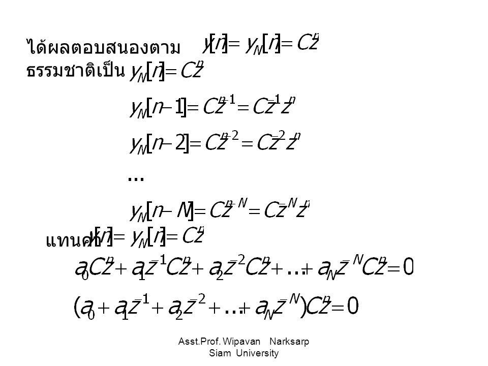 Asst.Prof. Wipavan Narksarp Siam University แทนค่า ได้ผลตอบสนองตาม ธรรมชาติเป็น