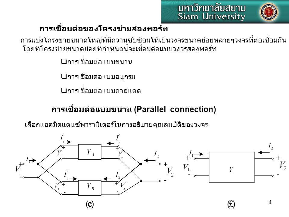 4 การเชื่อมต่อของโครงข่ายสองพอร์ท การแบ่งโครงข่ายขนาดใหญ่ที่มีความซับซ้อนให้เป็นวงจรขนาดย่อยหลายๆวงจรที่ต่อเชื่อมกัน โดยที่โครงข่ายขนาดย่อยที่กำหนดนี้