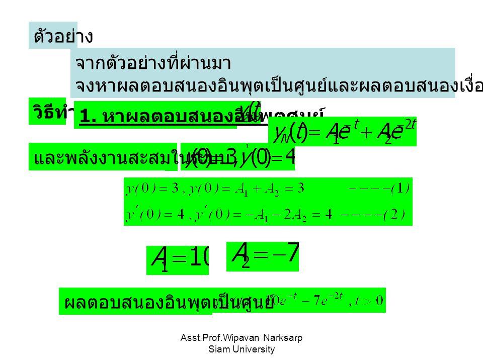 Asst.Prof.Wipavan Narksarp Siam University จากตัวอย่างที่ผ่านมา จงหาผลตอบสนองอินพุตเป็นศูนย์และผลตอบสนองเงื่อนไขเริ่มต้นเป็นศูนย์ ตัวอย่าง วิธีทำ 1. ห