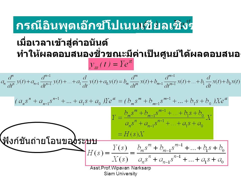 Asst.Prof.Wipavan Narksarp Siam University กรณีอินพุตเอ๊กซ์โปเนนเชียลเชิงซ้อน เมื่อเวลาเข้าสู่ค่าอนันต์ ทำให้ผลตอบสนองชั่วขณะมีค่าเป็นศูนย์ได้ผลตอบสนอ
