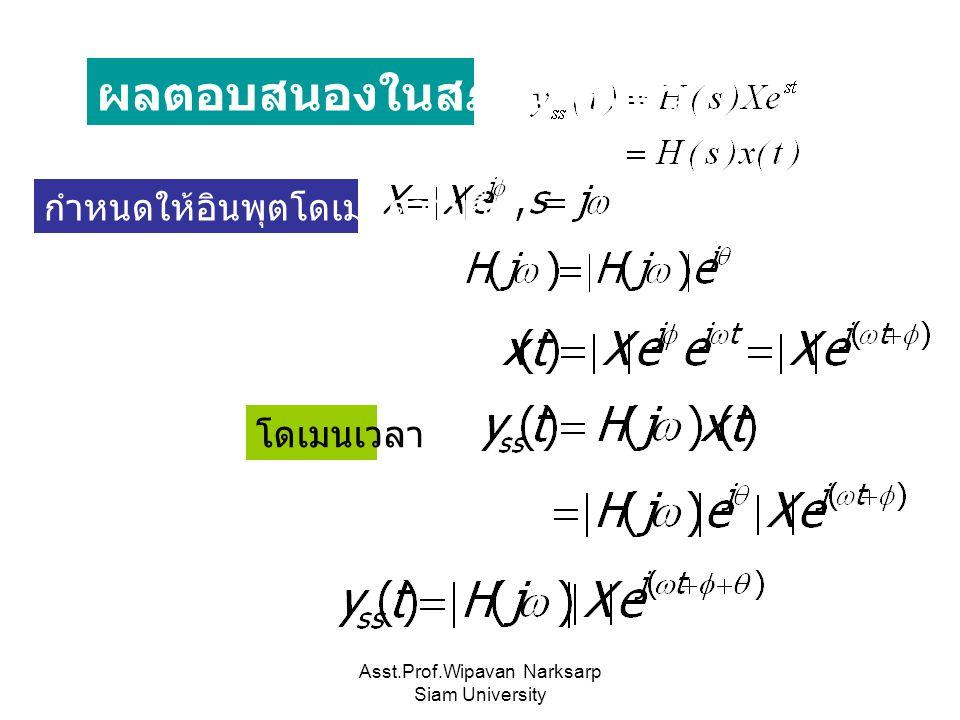 Asst.Prof.Wipavan Narksarp Siam University ผลตอบสนองในสภาวะคงตัว กำหนดให้อินพุตโดเมนความถี่ โดเมนเวลา