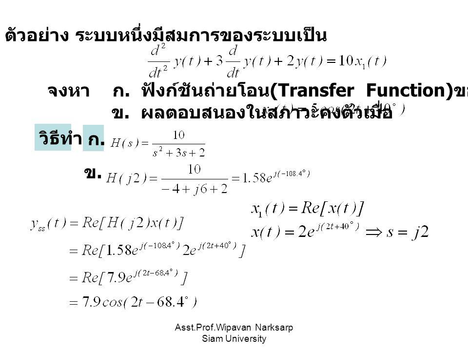 Asst.Prof.Wipavan Narksarp Siam University ตัวอย่าง ระบบหนึ่งมีสมการของระบบเป็น จงหา ก. ฟังก์ชันถ่ายโอน (Transfer Function) ของระบบ ข. ผลตอบสนองในสภาว