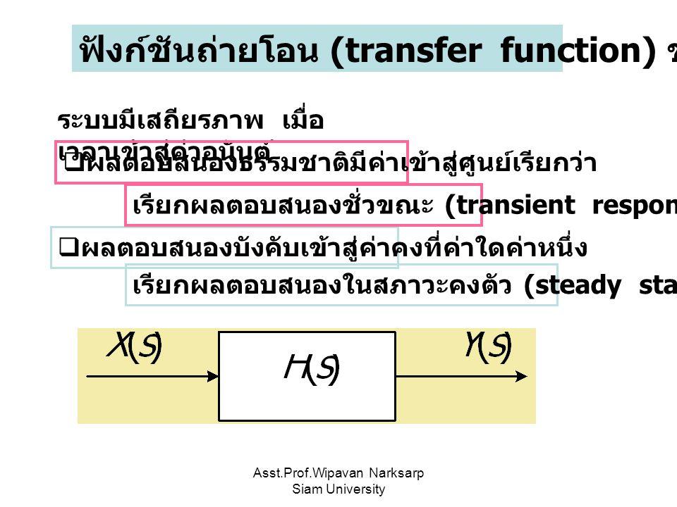 Asst.Prof.Wipavan Narksarp Siam University ฟังก์ชันถ่ายโอน (transfer function) ของระบบ LTI ระบบมีเสถียรภาพ เมื่อ เวลาเข้าสู่ค่าอนันต์  ผลตอบสนองธรรมช