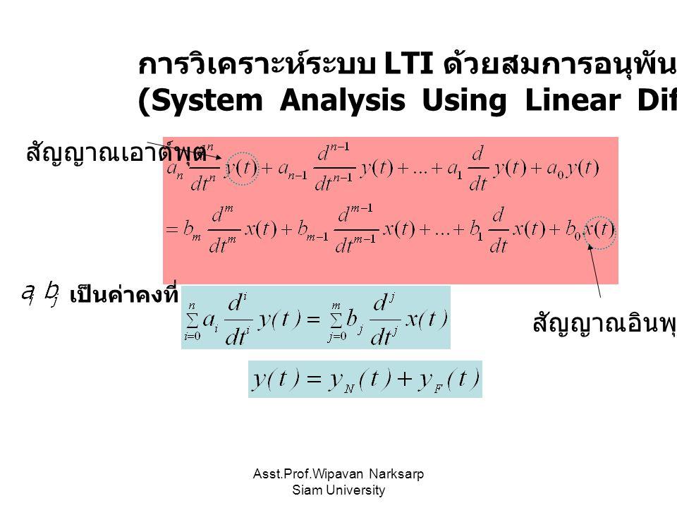 Asst.Prof.Wipavan Narksarp Siam University การวิเคราะห์ระบบ LTI ด้วยสมการอนุพันธ์แบบเชิงเส้น (System Analysis Using Linear Differential Equation) เป็น