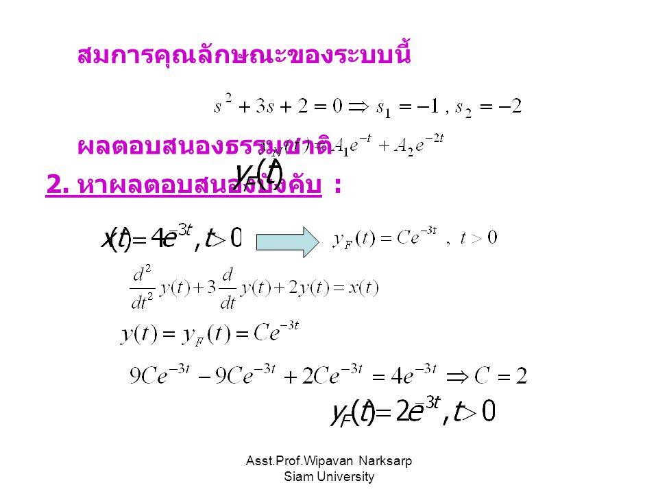 Asst.Prof.Wipavan Narksarp Siam University สมการคุณลักษณะของระบบนี้ ผลตอบสนองธรรมชาติ 2. หาผลตอบสนองบังคับ :