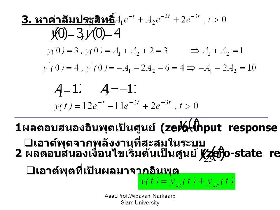 Asst.Prof.Wipavan Narksarp Siam University 3. หาค่าสัมประสิทธิ์  เอาต์พุตจากพลังงานที่สะสมในระบบ 1 ผลตอบสนองอินพุตเป็นศูนย์ (zero-input response : 2