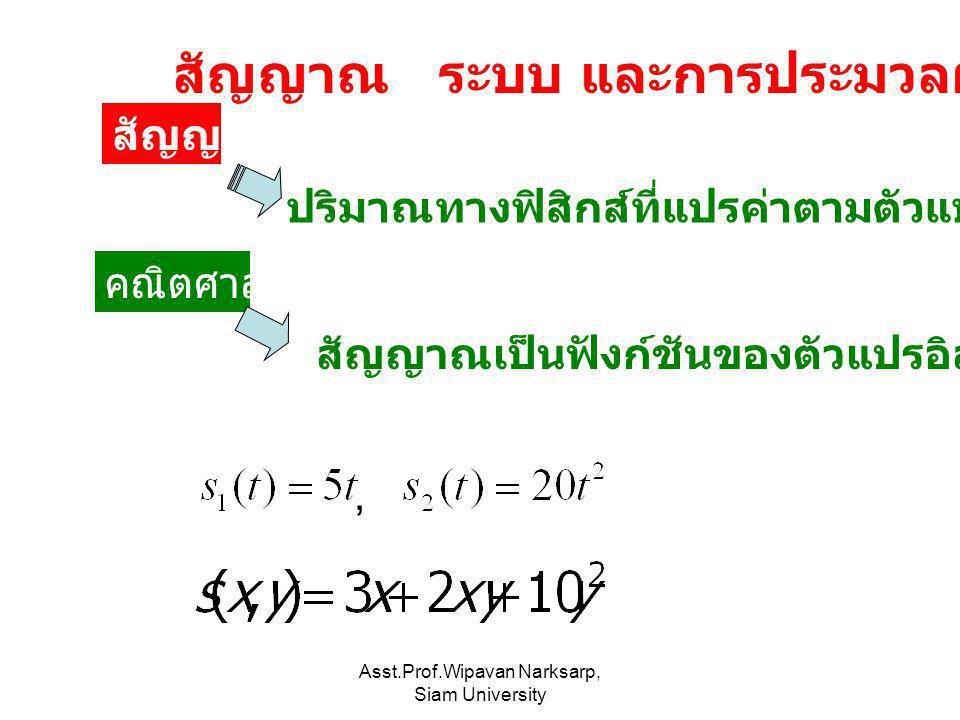Asst.Prof.Wipavan Narksarp, Siam University สัญญาณ ปริมาณทางฟิสิกส์ที่แปรค่าตามตัวแปรอิสระอย่างเช่น เวลา คณิตศาสตร์ สัญญาณเป็นฟังก์ชันของตัวแปรอิสระ ส