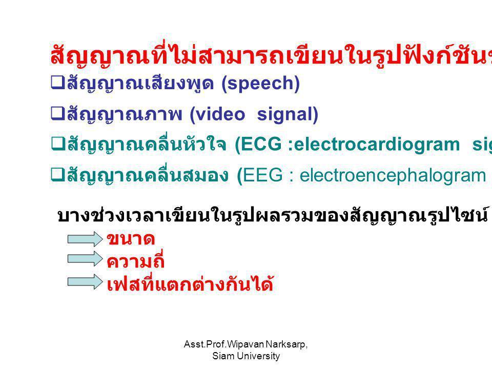 Asst.Prof.Wipavan Narksarp, Siam University สัญญาณที่ไม่สามารถเขียนในรูปฟังก์ชันของตัวแปรอิสระ  สัญญาณภาพ (video signal)  สัญญาณคลื่นหัวใจ (ECG :ele