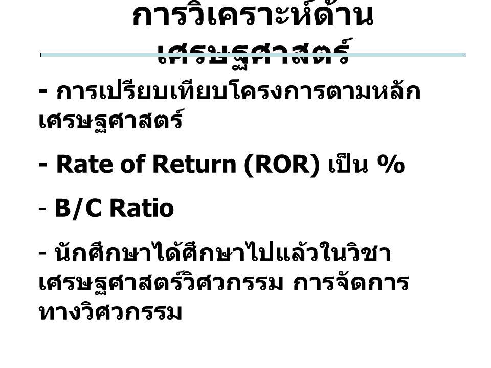การวิเคราะห์ด้าน เศรษฐศาสตร์ - การเปรียบเทียบโครงการตามหลัก เศรษฐศาสตร์ - Rate of Return (ROR) เป็น % - B/C Ratio - นักศึกษาได้ศึกษาไปแล้วในวิชา เศรษฐ