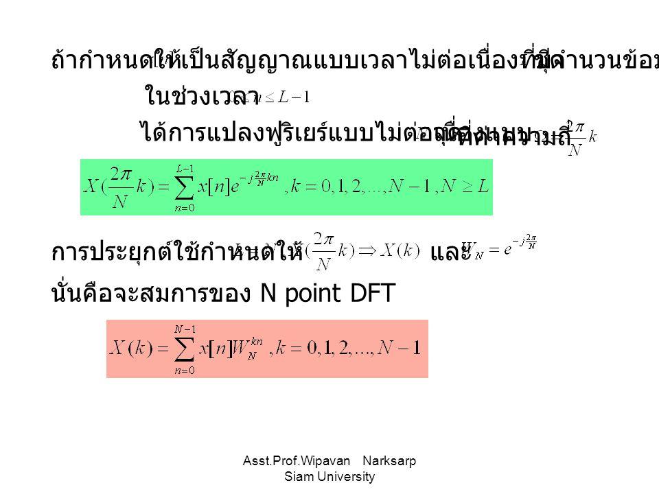 Asst.Prof.Wipavan Narksarp Siam University ถ้ากำหนดให้เป็นสัญญาณแบบเวลาไม่ต่อเนื่องที่มีจำนวนข้อมูล ในช่วงเวลา ชุด ได้การแปลงฟูริเยร์แบบไม่ต่อเนื่องแบ