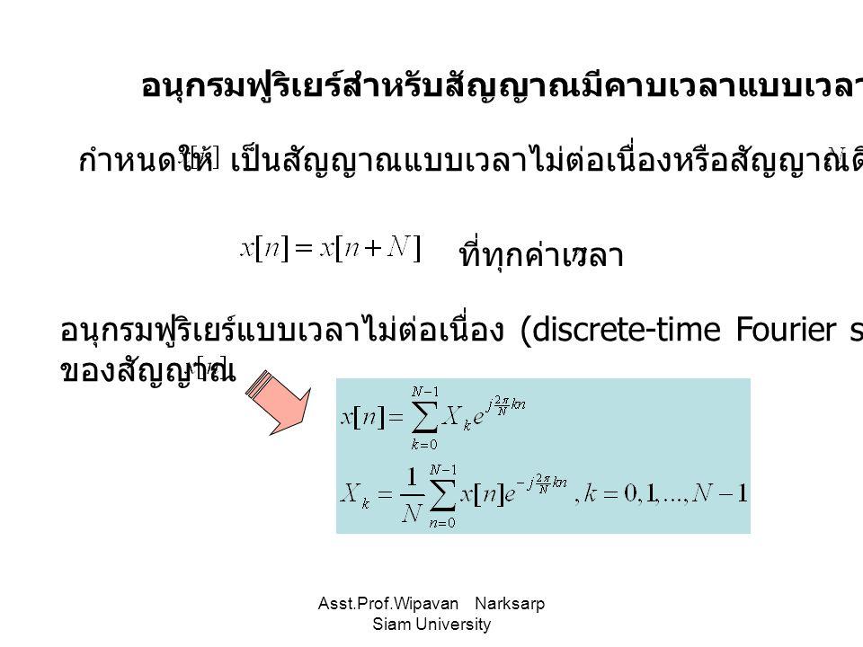 Asst.Prof.Wipavan Narksarp Siam University อนุกรมฟูริเยร์สำหรับสัญญาณมีคาบเวลาแบบเวลาไม่ต่อเนื่อง กำหนดให้เป็นสัญญาณแบบเวลาไม่ต่อเนื่องหรือสัญญาณดิจิต