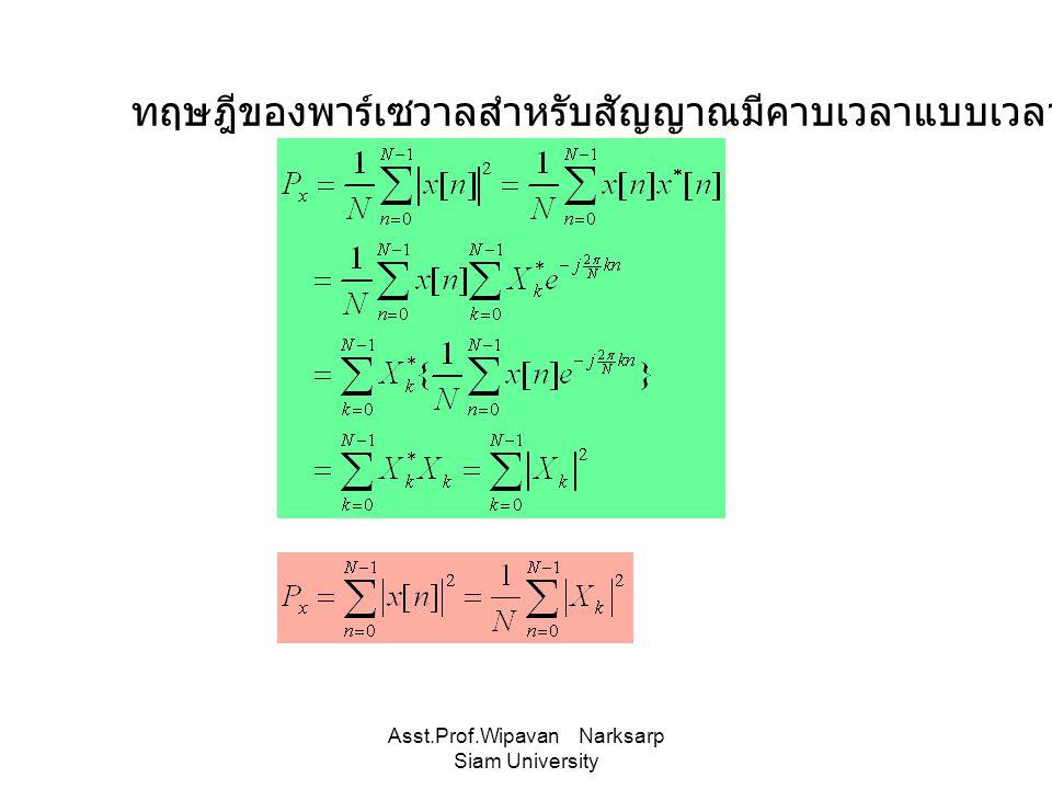 Asst.Prof.Wipavan Narksarp Siam University ทฤษฎีของพาร์เซวาลสำหรับสัญญาณมีคาบเวลาแบบเวลาไม่ต่อเนื่อง
