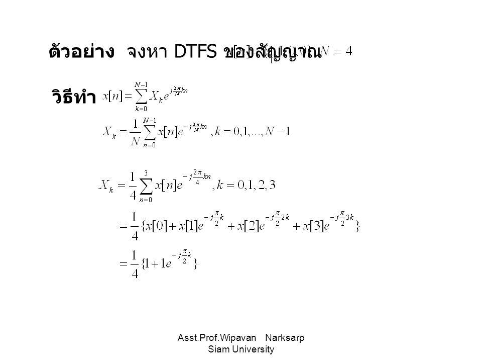 Asst.Prof.Wipavan Narksarp Siam University ตัวอย่าง จงหา DTFS ของสัญญาณ วิธีทำ