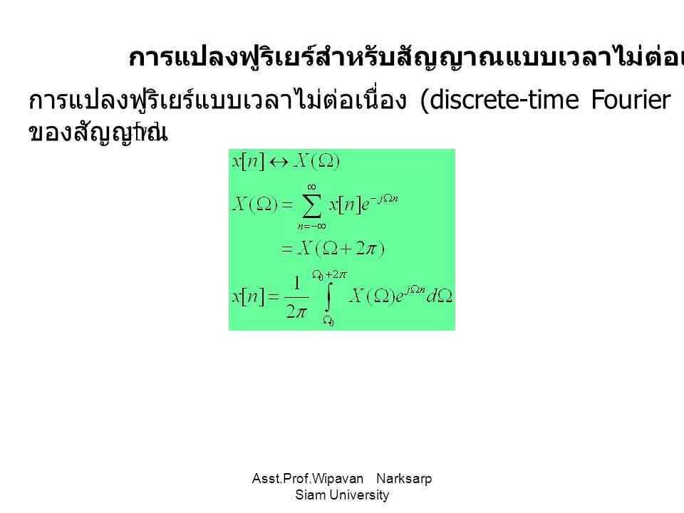 การแปลงฟูริเยร์สำหรับสัญญาณแบบเวลาไม่ต่อเนื่อง การแปลงฟูริเยร์แบบเวลาไม่ต่อเนื่อง (discrete-time Fourier transform :DTFT) ของสัญญาณ