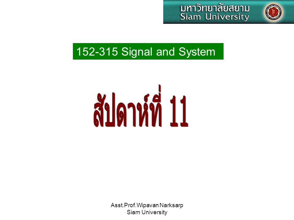 Asst.Prof.Wipavan Narksarp Siam University 152-315 Signal and System