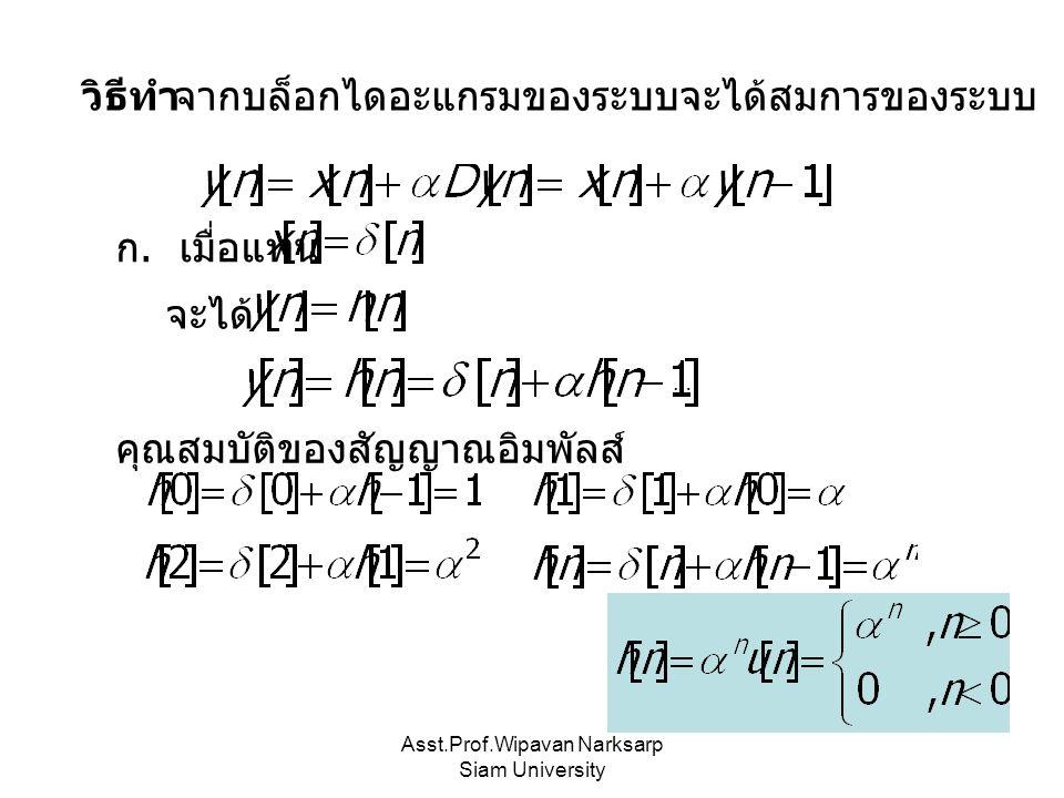 Asst.Prof.Wipavan Narksarp Siam University วิธีทำจากบล็อกไดอะแกรมของระบบจะได้สมการของระบบ ก. เมื่อแทน จะได้ คุณสมบัติของสัญญาณอิมพัลส์ …