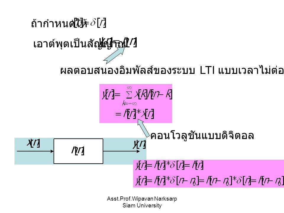 Asst.Prof.Wipavan Narksarp Siam University เอาต์พุตเป็นสัญญาณ ผลตอบสนองอิมพัลส์ของระบบ LTI แบบเวลาไม่ต่อเนื่อง ถ้ากำหนดให้ คอนโวลูชันแบบดิจิตอล