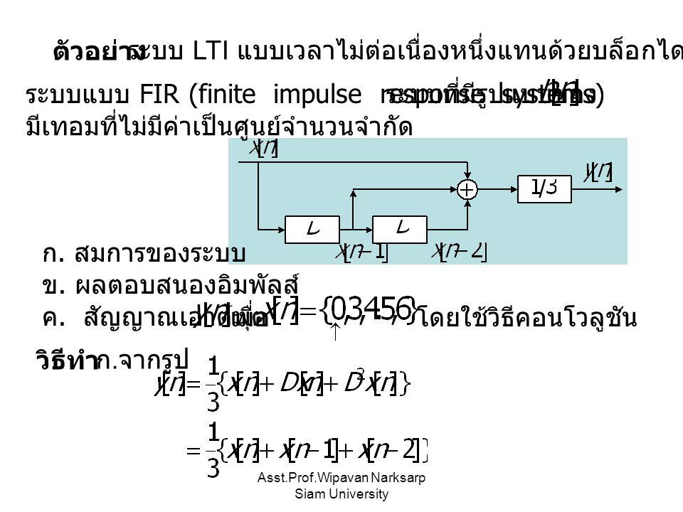 Asst.Prof.Wipavan Narksarp Siam University ตัวอย่างระบบ LTI แบบเวลาไม่ต่อเนื่องหนึ่งแทนด้วยบล็อกไดอะแกรม ก. สมการของระบบ ข. ผลตอบสนองอิมพัลส์ ค. สัญญา
