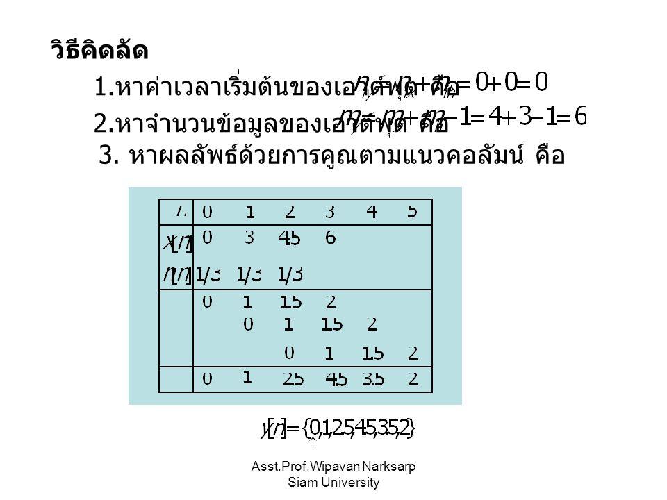 Asst.Prof.Wipavan Narksarp Siam University วิธีคิดลัด 1. หาค่าเวลาเริ่มต้นของเอาต์พุต คือ 2. หาจำนวนข้อมูลของเอาต์พุต คือ 3. หาผลลัพธ์ด้วยการคูณตามแนว