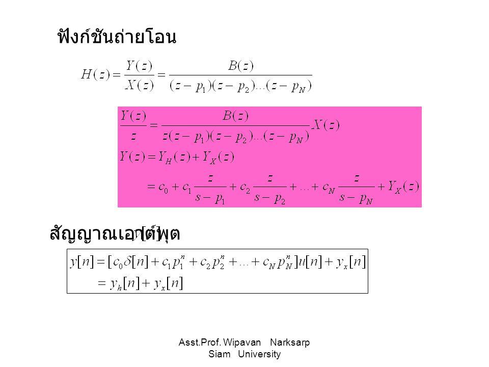 Asst.Prof. Wipavan Narksarp Siam University สัญญาณเอาต์พุต ฟังก์ชันถ่ายโอน