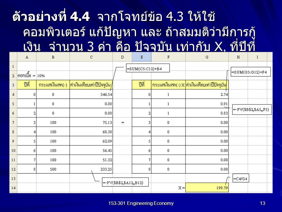 153-301 Engineering Economy 13 ตัวอย่างที่ 4.4 จากโจทย์ข้อ 4.3 ให้ใช้ คอมพิวเตอร์ แก้ปัญหา และ ถ้าสมมติว่ามีการกู้ เงิน จำนวน 3 ค่า คือ ปัจจุบัน เท่าก