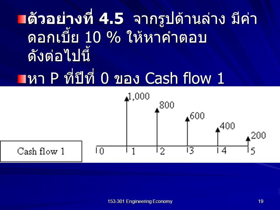 153-301 Engineering Economy 19 ตัวอย่างที่ 4.5 จากรูปด้านล่าง มีค่า ดอกเบี้ย 10 % ให้หาคำตอบ ดังต่อไปนี้ หา P ที่ปีที่ 0 ของ Cash flow 1