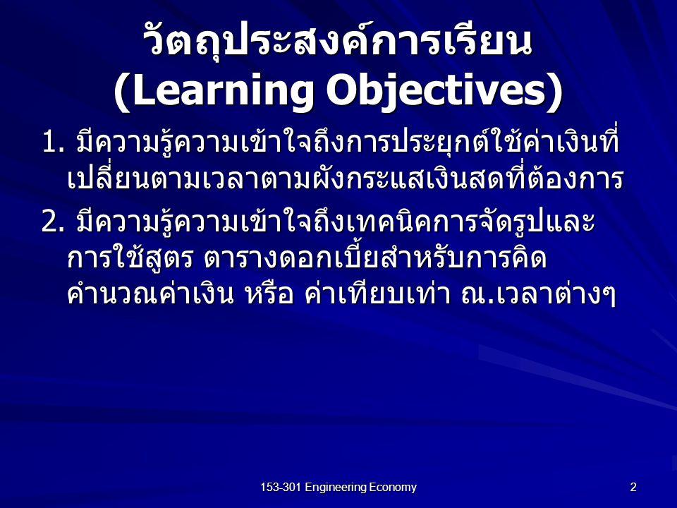 153-301 Engineering Economy 2 วัตถุประสงค์การเรียน (Learning Objectives) 1. มีความรู้ความเข้าใจถึงการประยุกต์ใช้ค่าเงินที่ เปลี่ยนตามเวลาตามผังกระแสเง